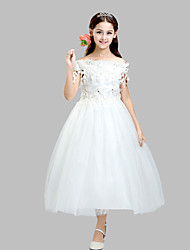 Ball Gown Ankle-length Flower Girl Dress - Cotton / Satin / Tulle Short Sleeve Off-the-shoulder with Appliques