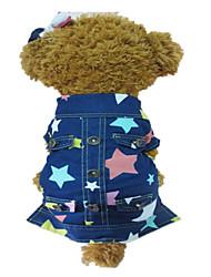 Perros Chaquetas Vaqueras Azul Primavera/Otoño Estrellas Moda, Dog Clothes / Dog Clothing-Other