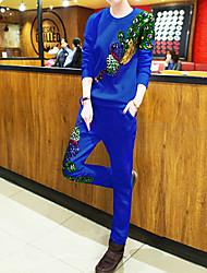 Normal Hoodies Femme Décontracté / Quotidien / Grandes Tailles simple,Broderie Bleu / Rose / Blanc / Noir Col Arrondi Manches Longues