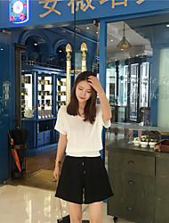 Tee-shirt Aux femmes,Couleur Pleine Décontracté / Quotidien / Sortie simple Eté Manches Courtes Col en V Blanc / Vert / Violet Coton Fin