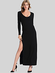 Women's Club Sexy Sheath Dress,Solid U Neck Asymmetrical Long Sleeve Black Polyester Fall / Winter
