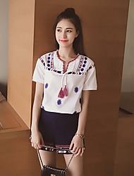 purpurina salir / día de fiesta atractivo / linda camiseta del verano de las bragas, geométrico cuello en V manga corta azul / traje / informal