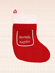 1pc Christmas Stocking Red Pocket Sock Wall Decoration Candy Bag Ornament Festival Present for Kid