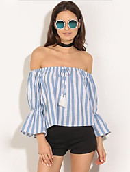 Women's Casual/Daily Street chic Summer Shirt,Striped Boat Neck Long Sleeve Blue Cotton Medium