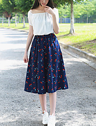 Women's Print Blue Skirts,Cute Midi
