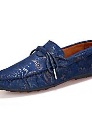 Men's Loafers & Slip-Ons Spring / Summer Moccasin / Comfort Suede Casual Flat Heel Slip-on Blue / Brown / Red Walking