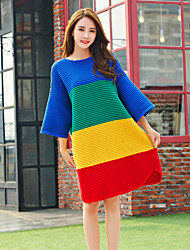 Women's Casual/Daily Street chic Long Pullover,Rainbow Multi-color Round Neck ¾ Sleeve Wool Fall Medium