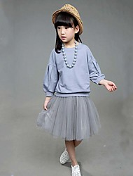 Girl's Casual/Daily Solid Clothing Set,Cotton Spring / Fall Blue