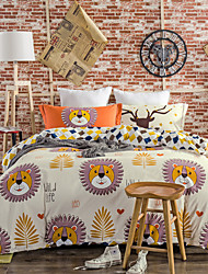 Lions 800TC bedding sets Queen King size Bedlinen printing sheets pillowcases Duvet cover sanding Cotton Fabric