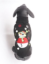 New Autumn and Winter Black Cool Christmas Sunglasses Wearing Snowman Dog Sweater Dog Clothes for Pet Dogs