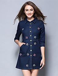 mulheres aofuli além de tamanho de bolso elegância talão denim uma linha de 3/4 de mini vestido casual / diária / sair
