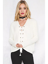 Normal Pullover Chic de Rue,Couleur Pleine Blanc Col en V Manches Longues Polyester Hiver Fin Micro-élastique
