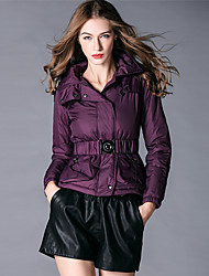 BURDULLY Women's Shirt Collar Long Sleeve Jackets Black / Purple-8055
