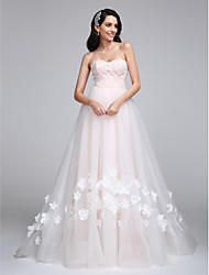 LAN TING BRIDE A-line Wedding Dress Wedding Dress in Color Court Train Sweetheart Tulle with Flower