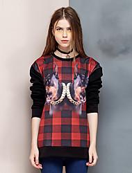 Herz Soul® Damen Rundhalsausschnitt Lange Ärmel Shirt & Bluse Schwarz-26AD50334