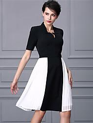 Baoyan® Femme Col en V Manches 3/4 Au dessus des genoux Robes-160322