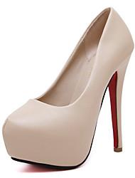 Feminino-Saltos-Plataforma Sapatos clube Light Up Shoes-Salto Agulha Plataforma-Preto Amêndoa-Couro Ecológico-Escritório & Trabalho