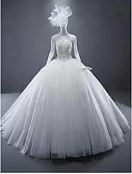 Ball Gown Sweetheart Sweep / Brush Train Tulle Wedding Dress with Crystal by DRRS