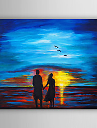 Oil Painting Impression Landscape Lover Watching the Sunrise  Hand Painted Canvas with Stretched Framed Ready to Hang