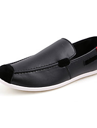 Men's Shoes PU Casual Flats Casual Walking Flat Heel Others Black / White