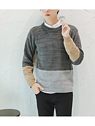 Masculino Pulôver Casual Mosaico de Retalhos Manga Comprida Lã Preto / Cinza