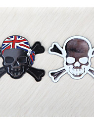 Solid metal skull 3D black and white stickers car stickers car decoration in car
