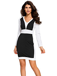Women's Color Block Long Sleeve Midi Dress