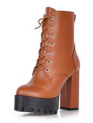 Women's Boots Winter Platform / Combat Boots Dress Chunky Heel Zipper / Lace-up Black / Brown / Beige Others