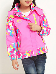 Girl's Trench Coat,Polyester Winter / Spring / Fall Blue / Pink / Red