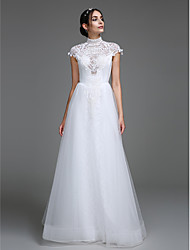 Lanting Bride® A-line Wedding Dress Floor-length High Neck Tulle with Pattern
