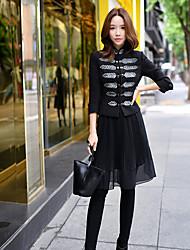 dabuwawa mulheres que saem / casual / diária / partido / cocktail do vintage / chinoiserie / blazer sofisticado, posição sólida de manga comprida