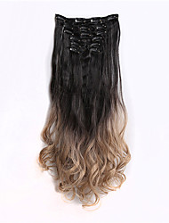 7pcs / set clips dans le dip colorant hombre deux synthétiques droites postiches d'extension de cheveux de tonalité, 1bt16 blacktgray