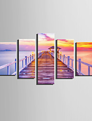 E-HOME® Stretched Canvas Art Coastline  Wooden Bridge Decoration Painting  Set Of 5