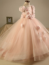 Ball Gown Sweep / Brush Train Flower Girl Dress - Tulle Short Sleeve Off-the-shoulder with Flower(s)