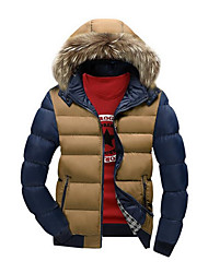 Men's Regular Padded Coat,Faux Fur / Cotton Solid Long Sleeve Down Jacket