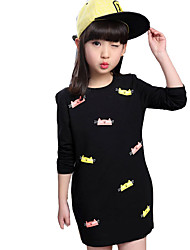 Girl's Casual/Daily Print Dress,Others Fall Black / Red
