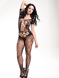 Women Black Conjoined Tight Perspective Mesh Sexy Suspenders Fishnets Temptation Stockings  Lingerie