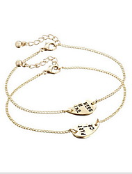 Set of 2 Gold Half Heart Sister Friend Chain Bracelet for Lady Girl