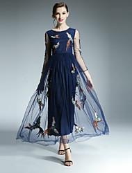 casual / vestido de balanço do vintage diária das klimeda mulheres, bordado maxi gola redonda ¾ queda manga azul de poliéster
