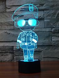 солдат касание затемнением 3D LED ночь свет 7colorful украшения атмосфера новизны светильника освещения свет рождества