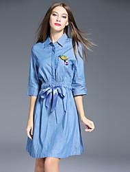 i-yecho femmes sortir simples t-shirt dresssolid col de chemise dessus polyester bleu manchon de genou
