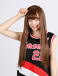Dark Brown Cheap Wigs Celebrity Long Straight Synthetic Wigs Heat Resistant Hair Halloween Centre Parting Cosplay Wig