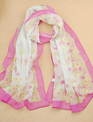 Women's Chiffon Flowers Print Scarf,Purple/Red/White/Pink