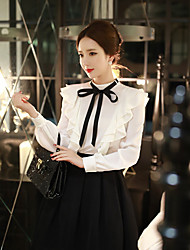 dabuwawa mulheres que saem / bonito casual sofisticado shirt / / babados, gola redonda Sólidos manga comprida