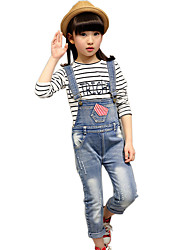 Girl's Cotton Spring/Autumn Fashion Jeans Pants Solid Color Stripes Pocket Suspender Trousers Patchwork Overalls