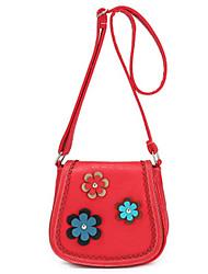 Women PU Casual Rural Pastoral Style Purse Mobile Phone Bag Messenger Flower Decoration Shoulder Saddle bags
