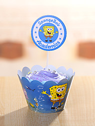 Anniversaire Parti Vaisselle-24Pièce/Set Accessoires pour Gâteaux Etiquette Papier durci rustique Theme Other Non personnalisé Bleu