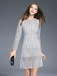 I-YECHO  Women's Going out Vintage Sheath Dress,Striped Round Neck Above Knee Long Sleeve White