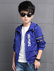 Boy's Cotton Spring/Autumn Fashion Print Outerwear Hoodie Jacket Sport Coat Windbreaker