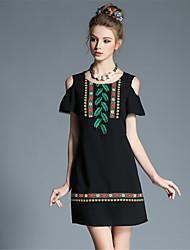 mulheres plus size aofuli étnica flor bordada do vintage sexy do ombro cor patchwork vestido bloco